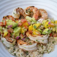 Grilled Shrimp with Mango Salsa and Cilantro Rice