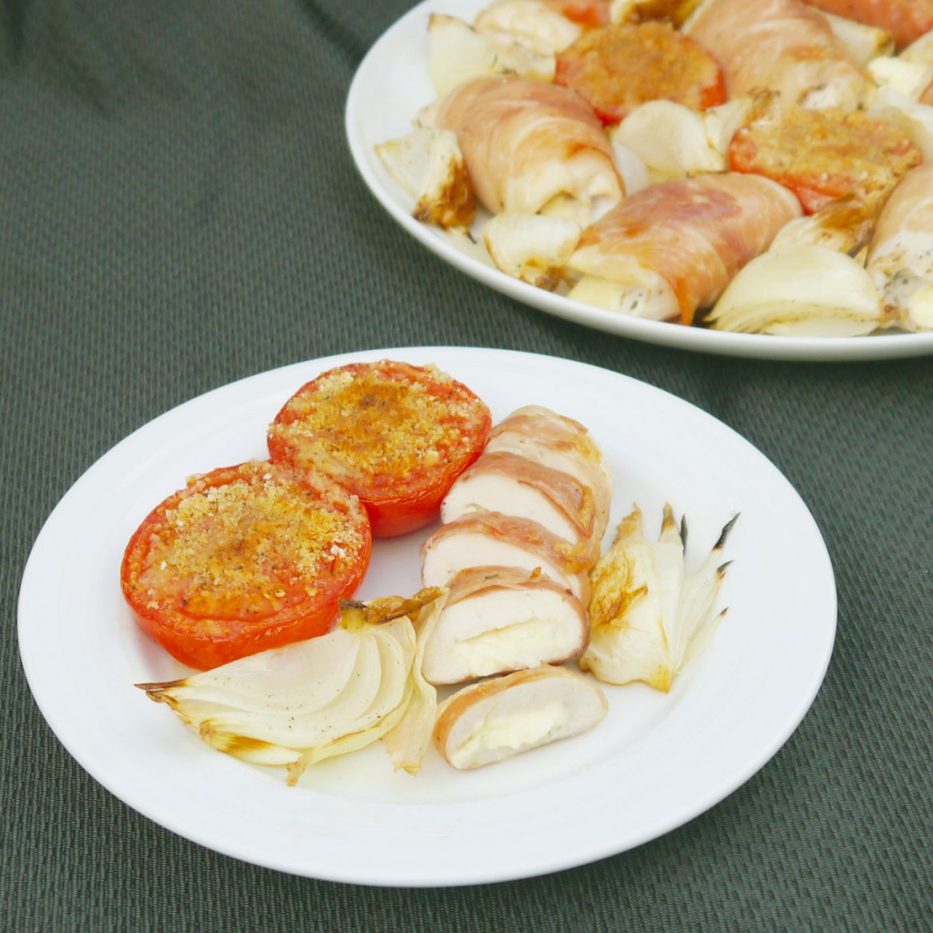 Chicken & Feta Wrapped in Prosciutto with Baked Onions & Tomatoes ...